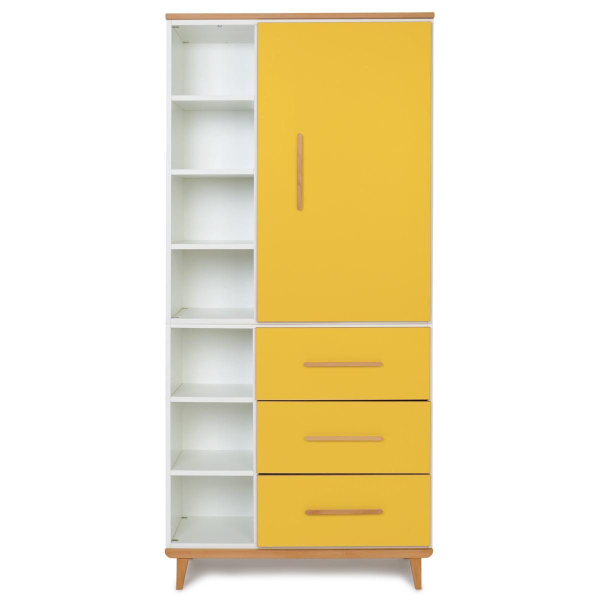 Wookids - Armoire 198cm 1 porte 3 tiroirs NADO sunshine yellow