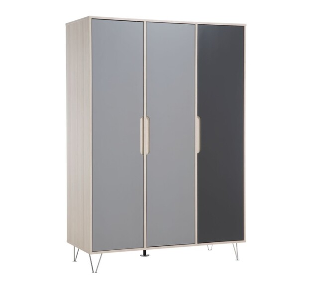 Geuther - Armoire Marit anthracite 3 portes 133x58x194 cm