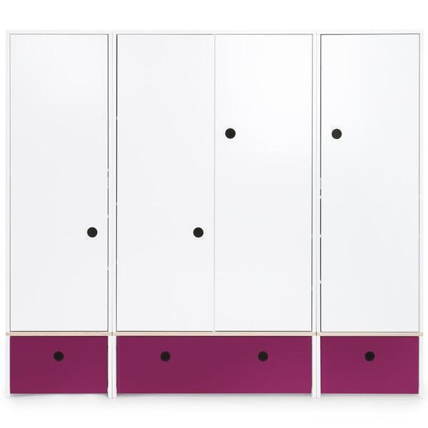 Wookids - Armoire 4 portes COLORFLEX façades tiroirs plum