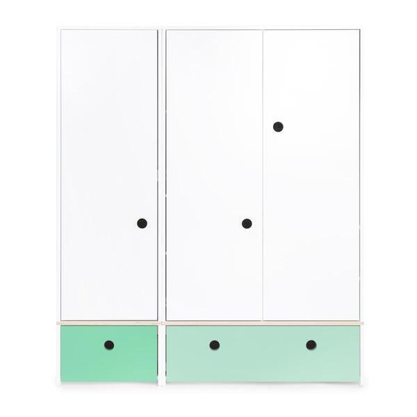 Wookids - Armoire 3 portes COLORFLEX façades tiroirs sea foam-mint