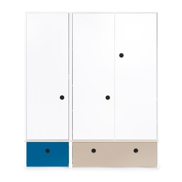 Wookids - Armoire 3 portes COLORFLEX façades tiroirs deep marine-warm gre