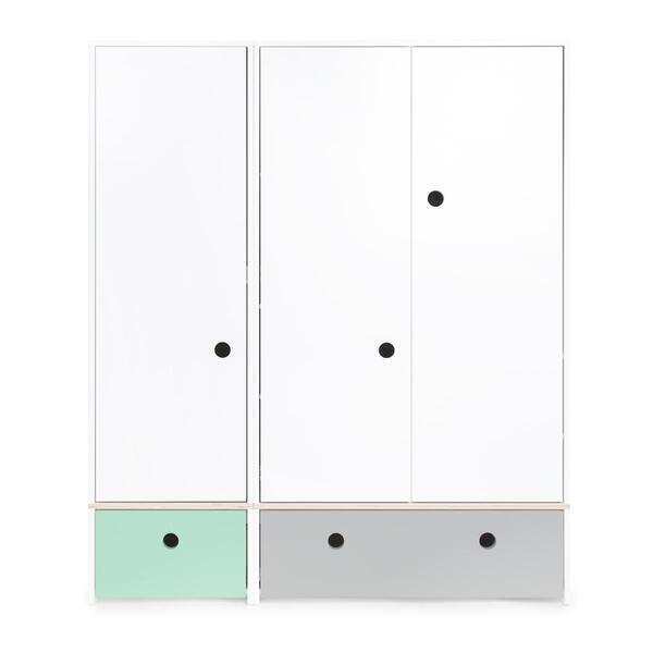 Wookids - Armoire 3 portes COLORFLEX façades tiroirs mint-pearl grey