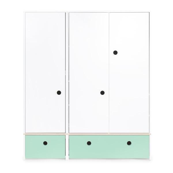 Wookids - Armoire 3 portes COLORFLEX façades tiroirs mint