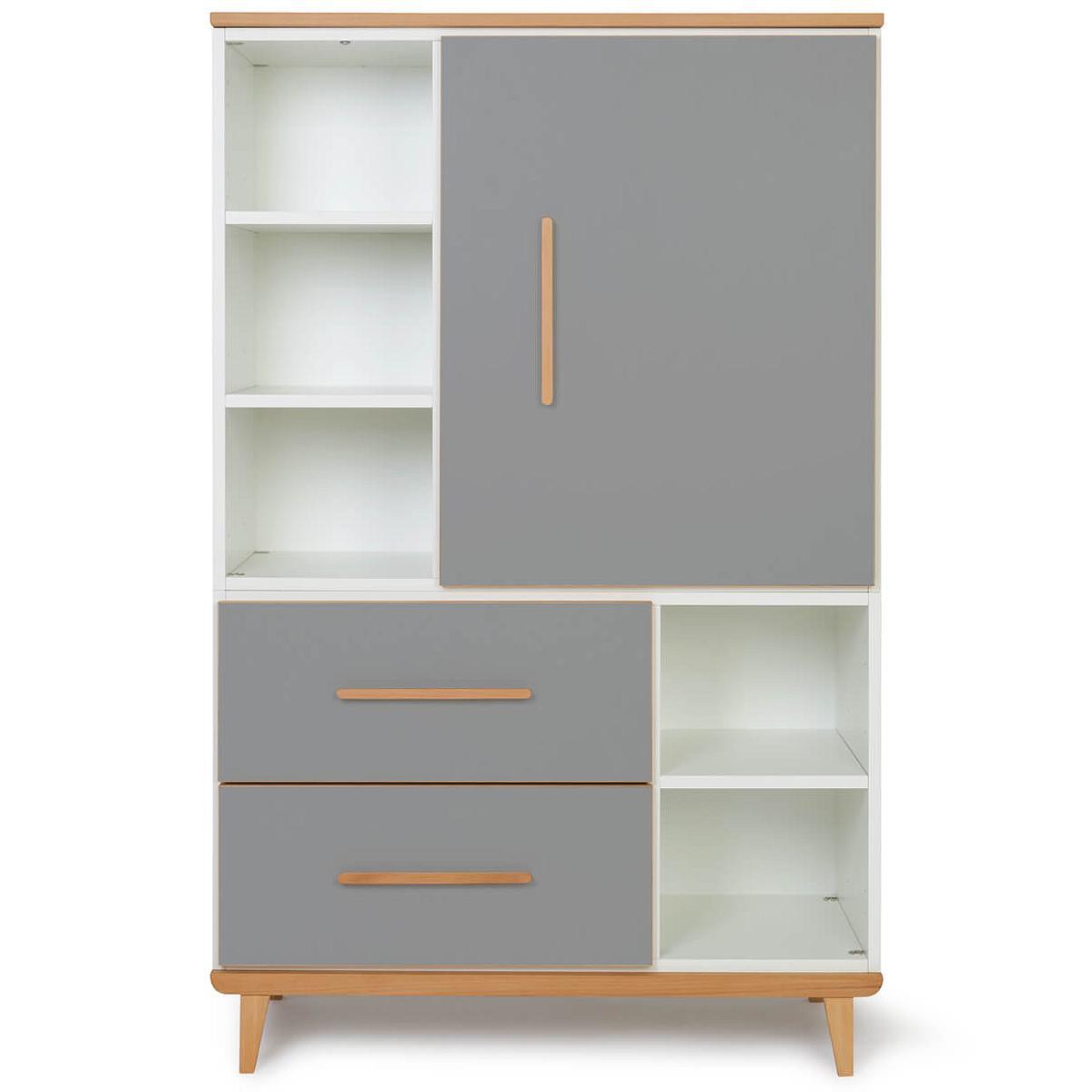 Wookids - Armoire 147cm 1 porte 2 tiroirs NADO slate grey