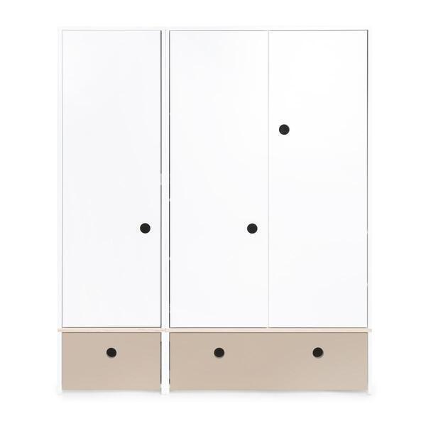 Wookids - Armoire 3 portes COLORFLEX façades tiroirs warm grey