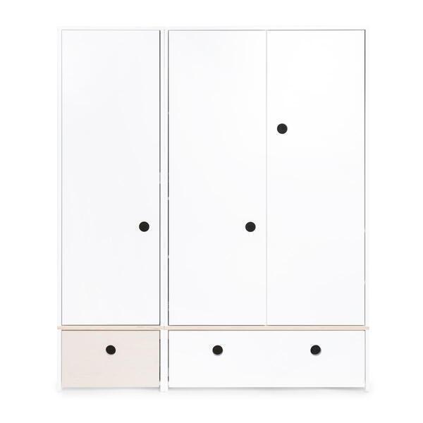 Wookids - Armoire 3 portes COLORFLEX façades tiroirs white wash-white