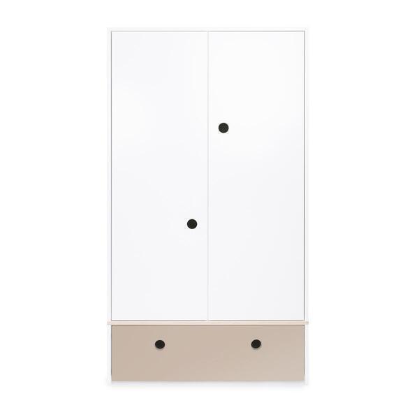 Wookids - Armoire 2 portes COLORFLEX façade tiroir warm grey