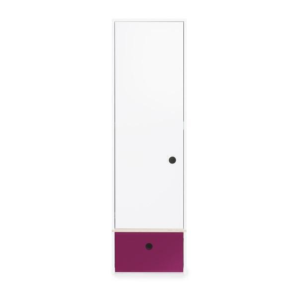 Wookids - Armoire 1 porte COLORFLEX façade tiroir plum