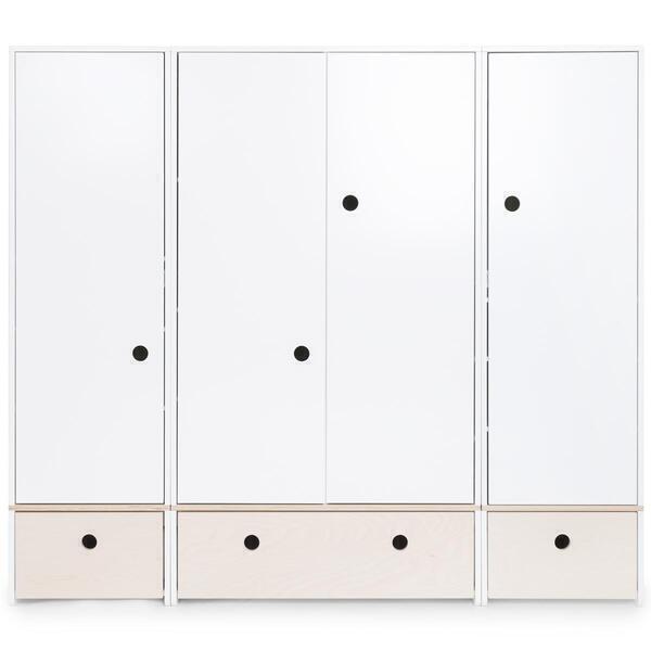 Wookids - Armoire 4 portes COLORFLEX façades tiroirs white wash