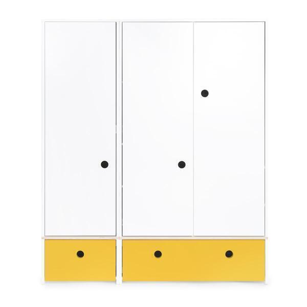 Wookids - Armoire 3 portes COLORFLEX façades tiroirs nectar yellow