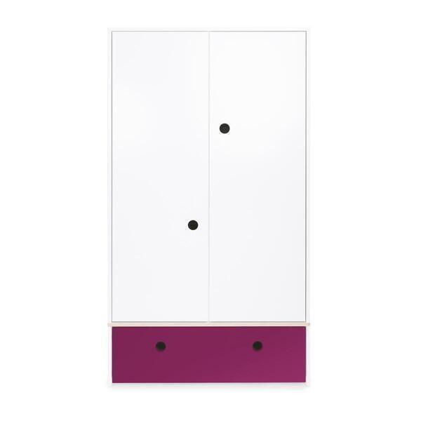 Wookids - Armoire 2 portes COLORFLEX façade tiroir plum