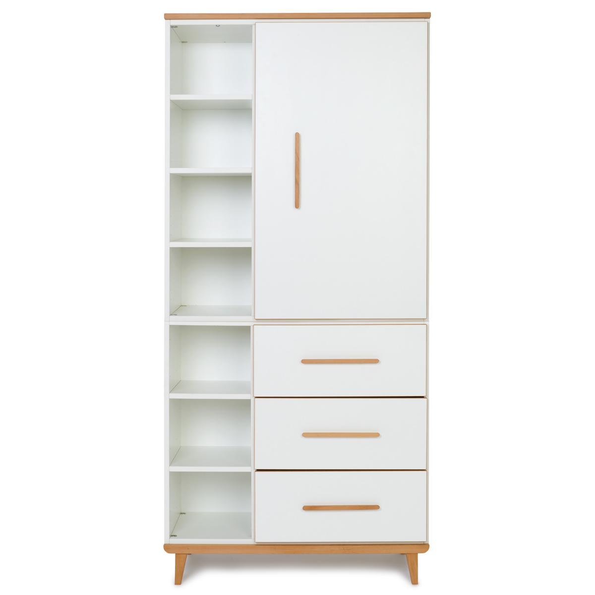 Wookids - Armoire 198cm 1 porte 3 tiroirs NADO white