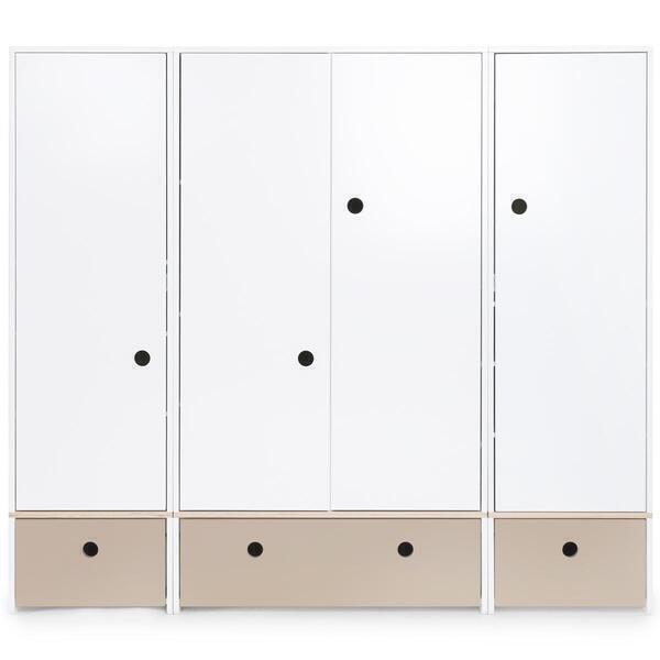 Wookids - Armoire 4 portes COLORFLEX façades tiroirs warm grey