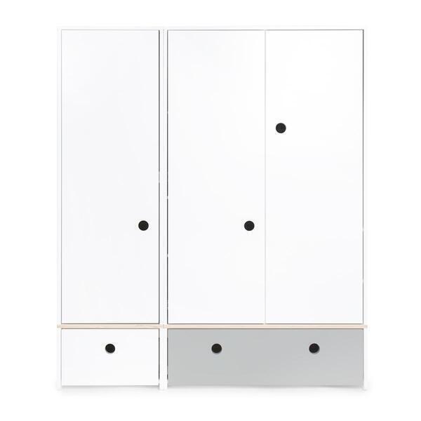 Wookids - Armoire 3 portes COLORFLEX façades tiroirs white-pearl grey
