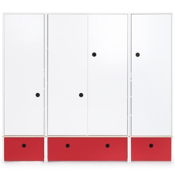 Wookids - Armoire 4 portes COLORFLEX façades tiroirs true red