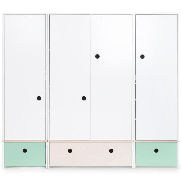 Wookids - Armoire 4 portes COLORFLEX façades tiroirs mint-white wash-mint