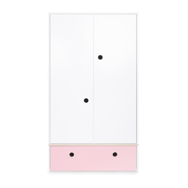 Wookids - Armoire 2 portes COLORFLEX façade tiroir sweet pink