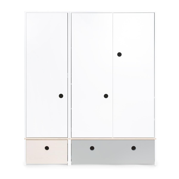 Wookids - Armoire 3 portes COLORFLEX façades tiroirs white wash-pearl gre