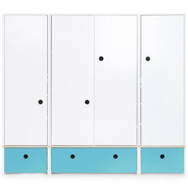 Wookids - Armoire 4 portes COLORFLEX façades tiroirs paradise blue
