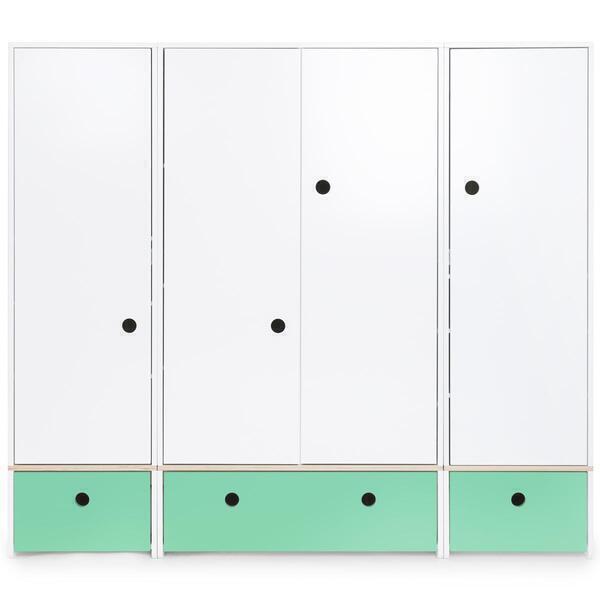 Wookids - Armoire 4 portes COLORFLEX façades tiroirs sea foam
