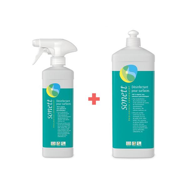 Sonett - Pack désinfectant pour surfaces 50cl et recharge 1L