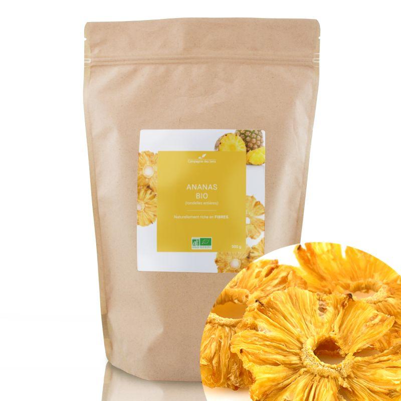 Compagnie des Sens - Ananas en rondelles BIO - Fruits séchés en vrac - 500g