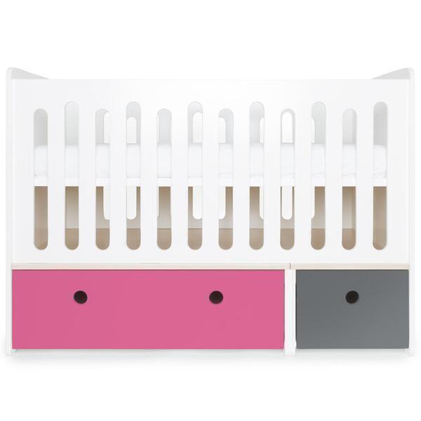 Wookids - Lit bébé évolutif COLORFLEX pink-s grey
