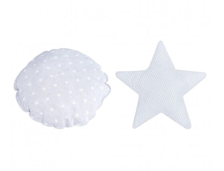 Micuna - Coussin décoratif Galaxy gris étoiles 100% coton