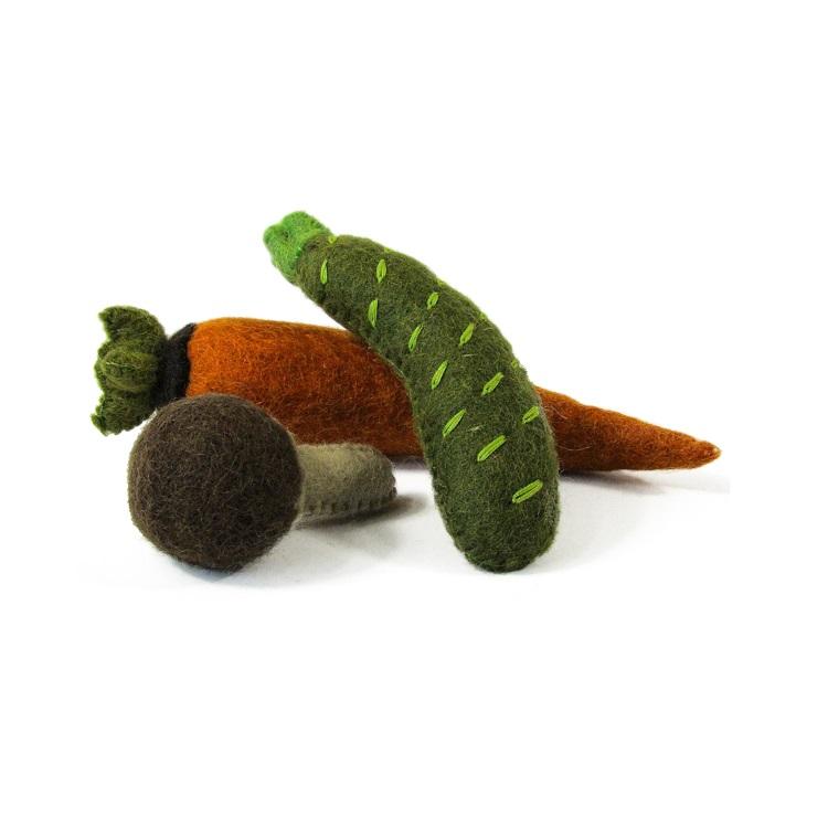 PAPOOSE TOYS - Légumes en laine feutrée - Carotte, Courgette, Champignon