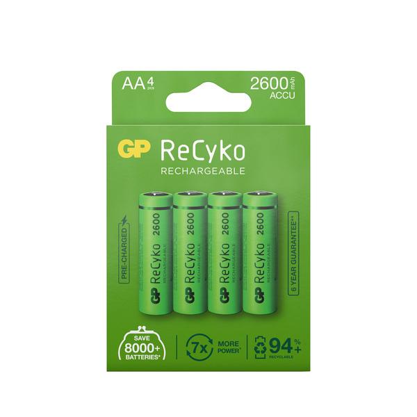 GP Batteries - Pack de 4 piles rechargeable Recyko+ AA 2600mAh