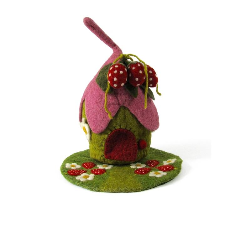 PAPOOSE TOYS - Maison et tapis en laine feutrée Fraise