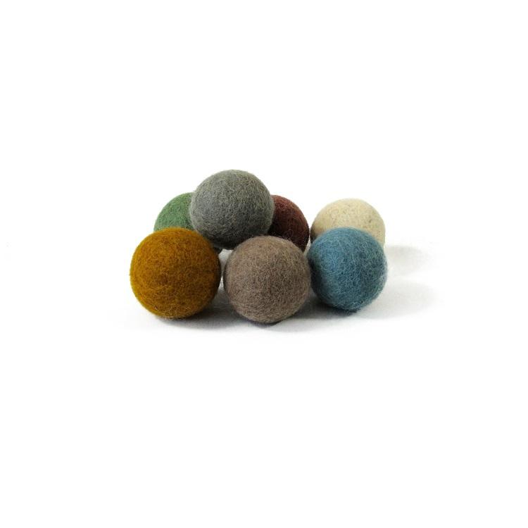 PAPOOSE TOYS - Balles 3,5 cm en laine feutrée Earth - set de 7