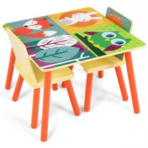 Costway - Ensemble table et 2 chaises enfant en bois multicolore