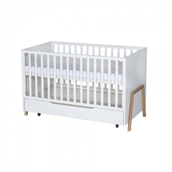 Schardt - Lit bébé à barreaux Holly Nature bois 70x140 cm avec tiroir