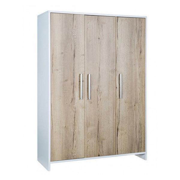 Schardt - Armoire bébé 3 portes bois blanc et chêne clair Eco Plus L