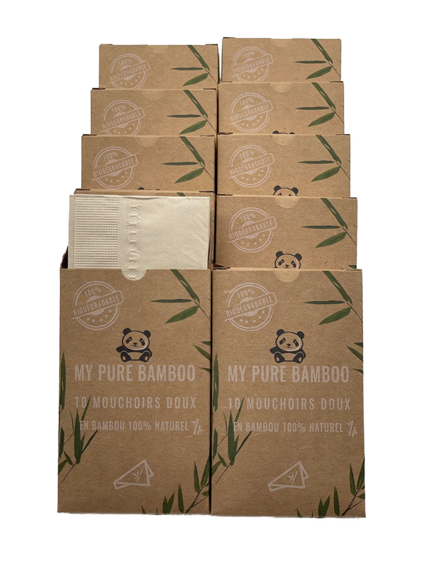 My pure bamboo - Lot de 12 étuis de mouchoirs de poches en Bambou