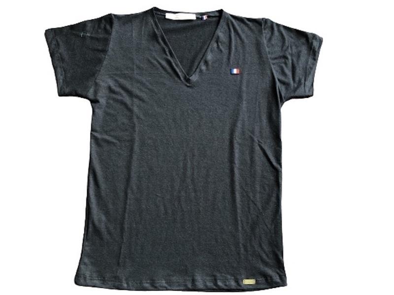 Or'ganic par LC - T shirt RESIST Fabriqué en France, chanvre et coton bio- Noir L