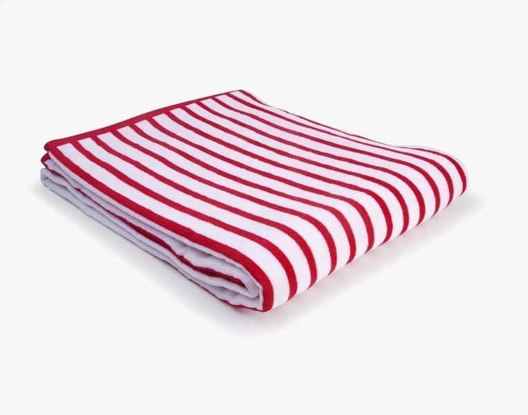 Nuances - Drap de plage coton 420g 100/180cm rouge/blanc
