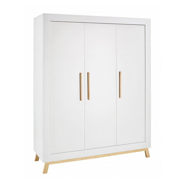 Schardt - Armoire bébé 3 portes bois blanc et pieds hêtre clair Miami L