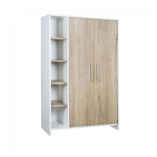 Schardt - Armoire Eco Plus 2 portes avec étagères chêne Halifax blanc