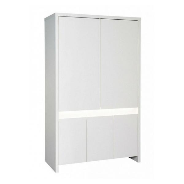 Schardt - Armoire bébé 5 portes bois laqué blanc Planet White L 116 x H