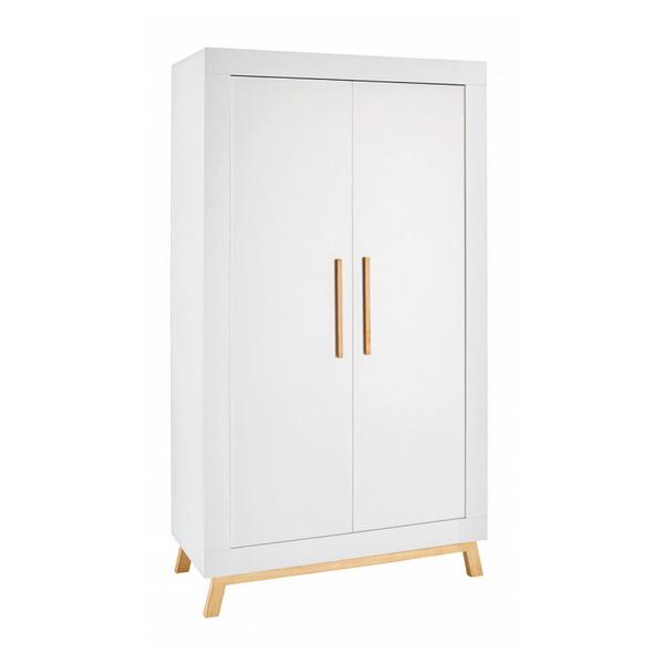 Schardt - Armoire bébé 2 portes bois blanc et pieds hêtre clair Miami L