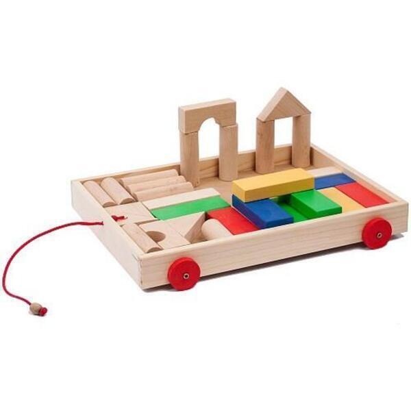 Amik - Chariot à tirer avec 31 cubes de construction en bois