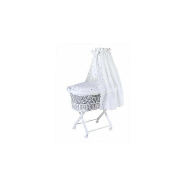 Schardt - Couffin Babsi laqué blanc gris étoilé 90x55x30 cm