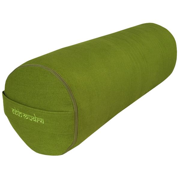 Chin Mudra - Bolster de yoga 100 % coton Bio 65 cm x 21 cm KAPOK - Vert