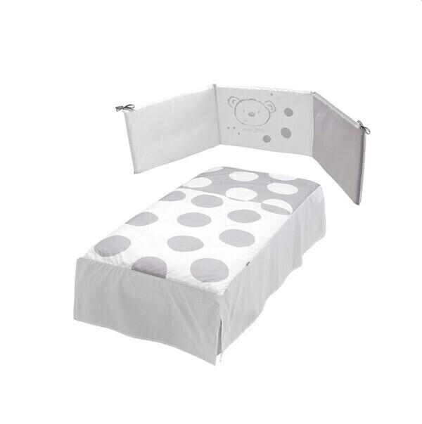 Micuna - Couette et tour de lit 120 x 60 cm Sweat bear blanc et gris