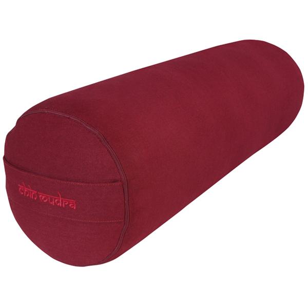 Chin Mudra - Bolster de yoga 100 % coton Bio 65 cm x 21 cm KAPOK - Bordeaux