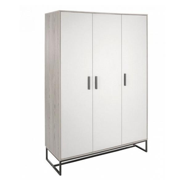 Schardt - Armoire bébé 3 portes bois clair et gris Pixie L 135 x H 197 x