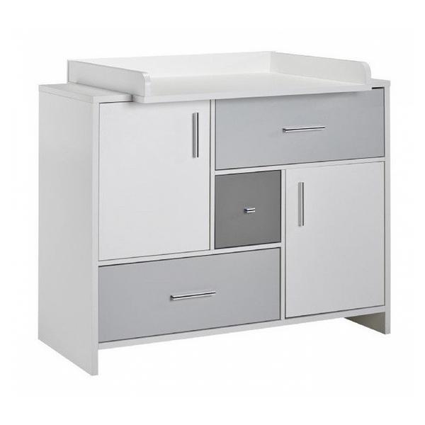 Schardt - Commode avec plan à langer bois blanc et gris Candy Grey L 112