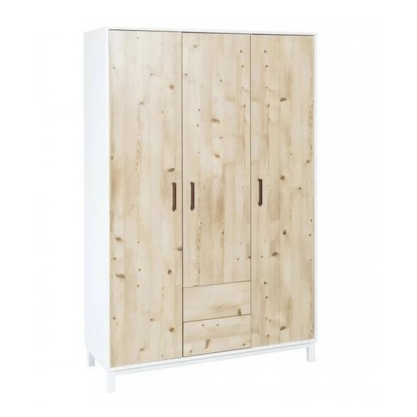 Schardt - Armoire bébé 3 portes 2 tiroirs bois clair et blanc Timber L